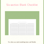Free printable Six-section Blank Checklist