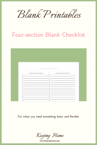 Four Section Blank Checklist