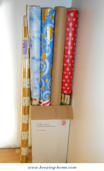 Neatly stored rolls of wrapping paper!