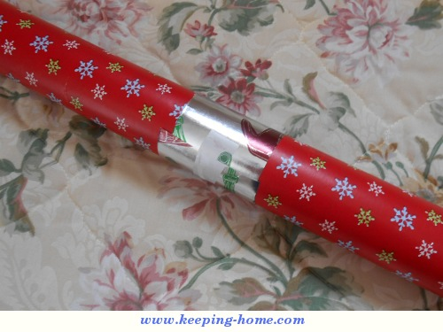 Gift wrap roll storage tip.