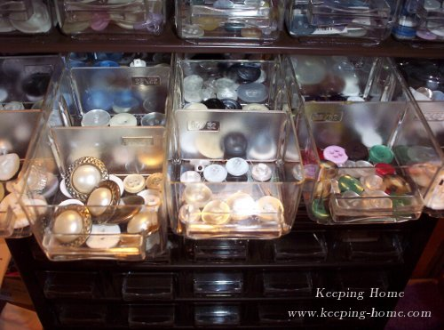Buttons stored in tiny drawers.