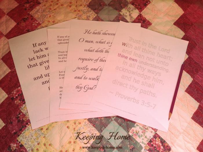 Scripture print samples.
