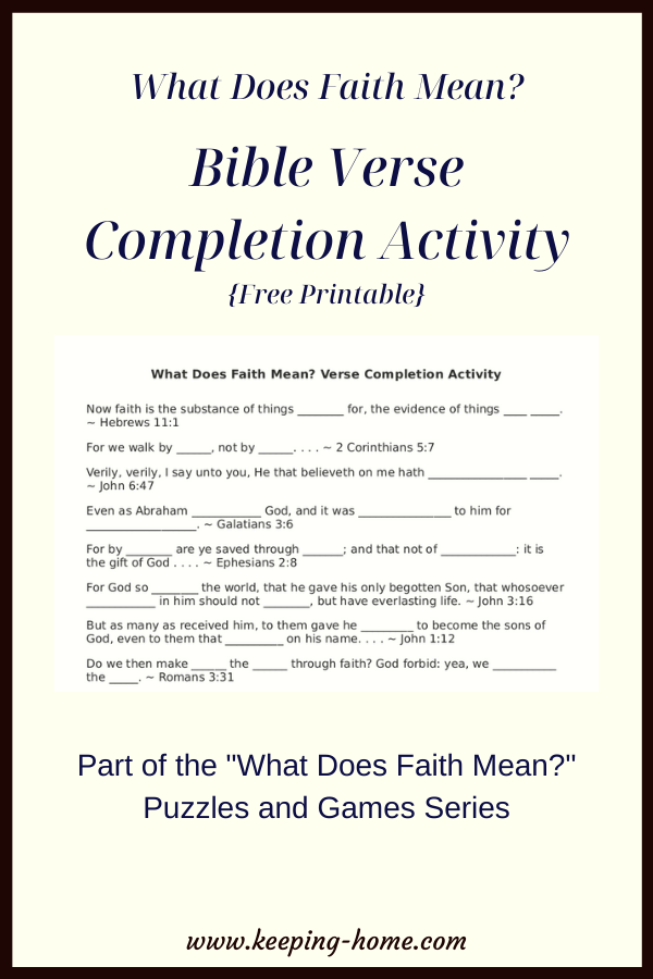 What Does Faith Mean? Bible Verse Completion