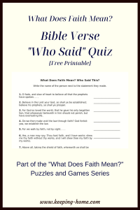 What Does Faith Mean Bible Verse Who Said Quiz