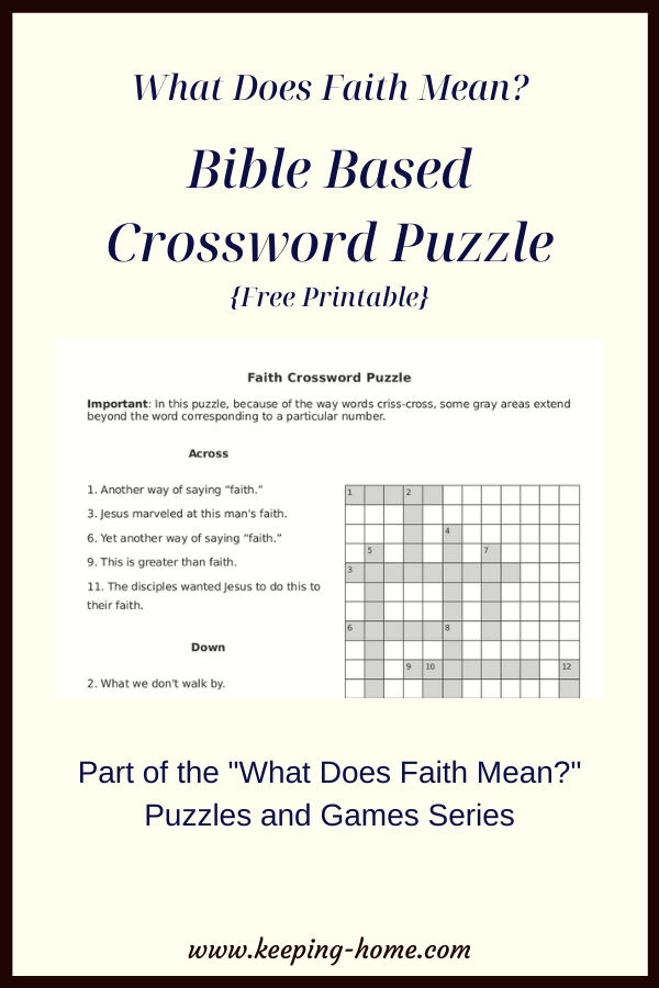 What Does Faith Mean? Crossword Puzzle