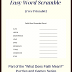 What Does Faith Mean Easy Word Scramble