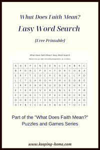 What Does Faith Mean? Easy Word Search
