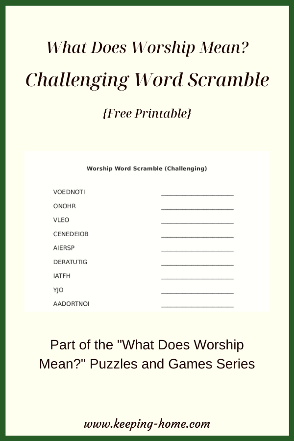 What Does Worship Mean? Challenging Word Scramble