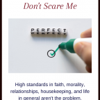 Why high standards don't scare me. High standards in faith, morality, relationships, housekeeping, and life in general, aren't the problem.