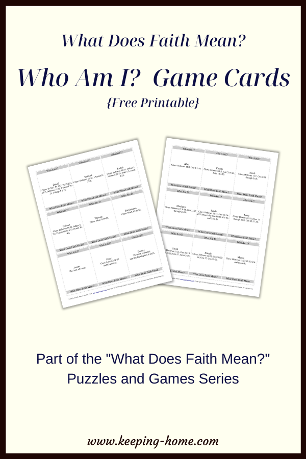 """What Does Faith Mean? Who Am I? Game Cards {Free Printable}. Part of the """"What Does Faith Mean"""" puzzles and games series."""